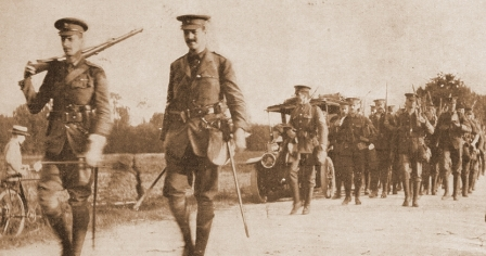 Lieutenant-Colonel N.A.L. Corry leads the 2nd Battalion out of Le Havre, August 1914.