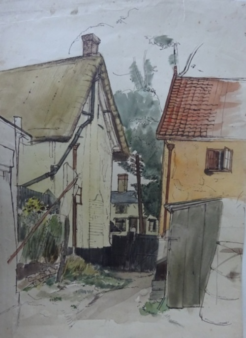 The Old Police Station and Court Cottage watercolour